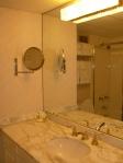 Tiny marble clad bathroom.