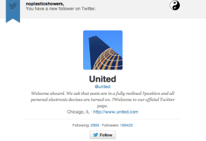 Bwahahahaha.  United dares to follow @noplasticshowers