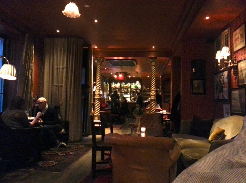 Inside the Zetter Townhouse.  View from the couch (which was almost denied us by the little girl minding the door).