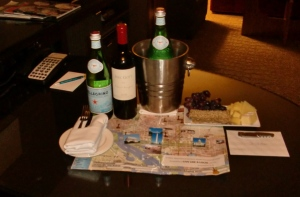 Ye olde welcome package, with not one, but two bottles of Pellegrino.  Hit the spot.