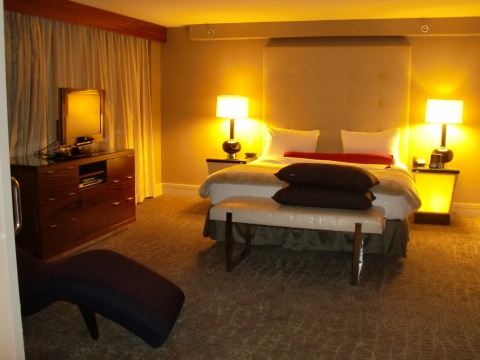 Bedroom in 539.  Nice light-up bedside tables with ample power.