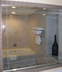 No shower in the tub room (no window either).