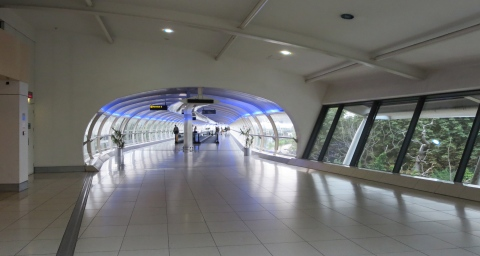 The Manchester Airport skywalk.