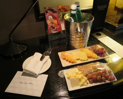 Welcome package with sparkling water.