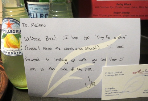 Another personal note from Joe, this one featuring a song title.