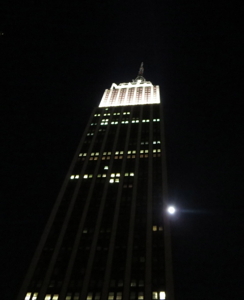 Moon by Empire State Building