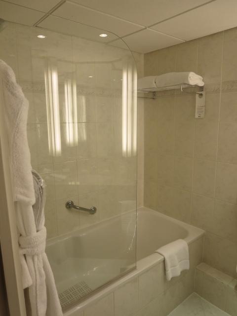 Euroshower.  Terrible shower head.  Thin plastic tub.