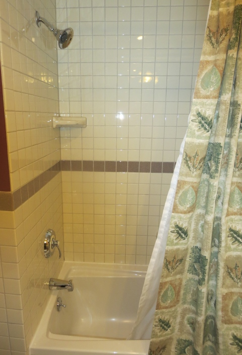Sadly, this 407 bathroom shower is designed over a tub with a plastic shower curtain. OH NO MR. BILL.