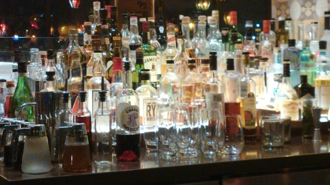 Impressive back bar at Plat99