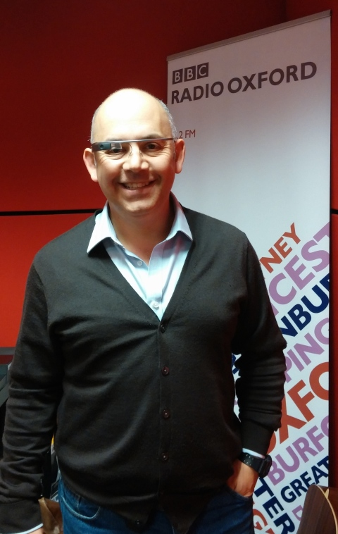 BBC Oxford radio host David  Prever wearing google glass