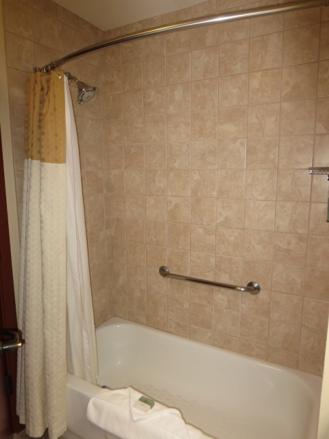 Curvy shower rod over a tub