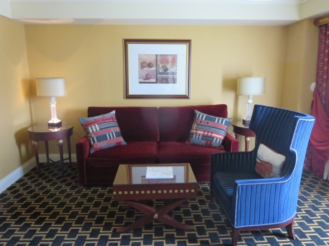 Living room with really TALL furniture in 621 at Hotel Marlowe