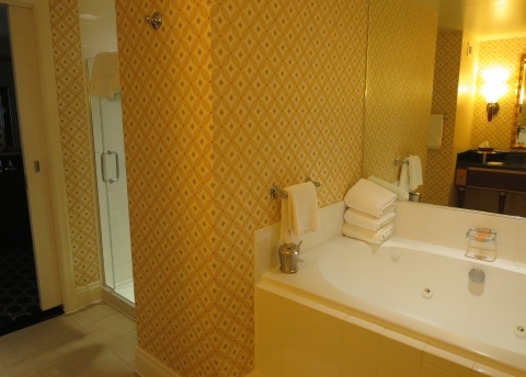 No plastic to be seen near the shower in 621 at Hotel Marlowe