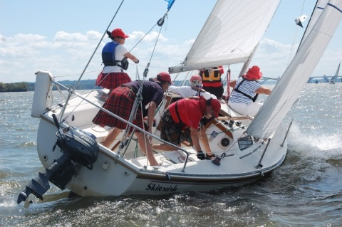 Team Tartan sailing in the 2013 Leukemia Cup.
