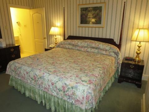 Flowery bedspread.