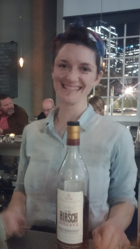 Erin from hard water with a bottle of Hirsch 16 (1974)