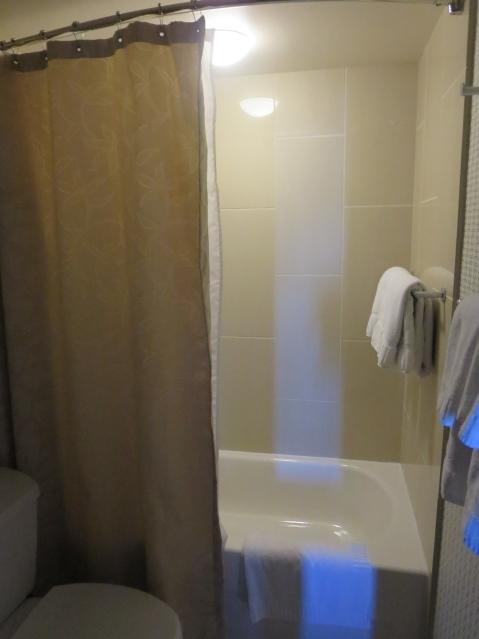 A plastic shower at Kimpton's Palomar in Los Angeles