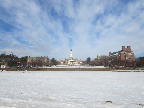 Colby college: yes, that's snow in April
