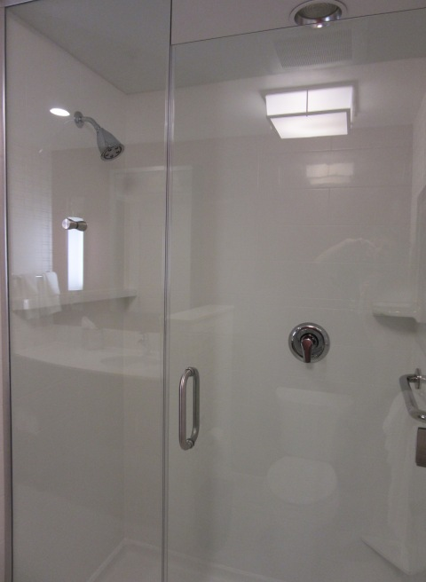 Glass shower.  We repeat, glass shower!