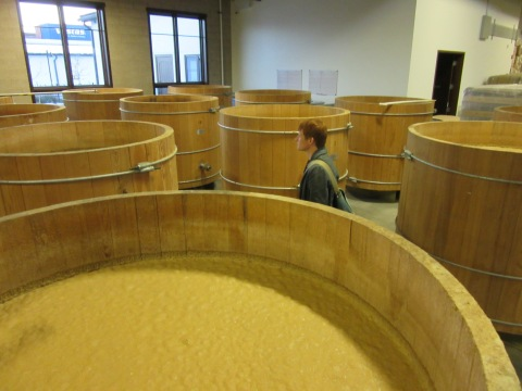 Open mash tanks made of cypress and pine