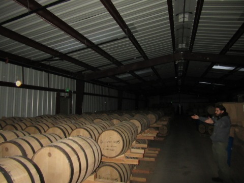 Rickhouse with 2 or 3 barrel ricks