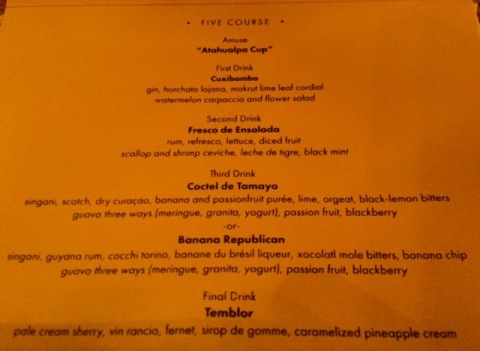 Five Course summer menu at the Columbia Room