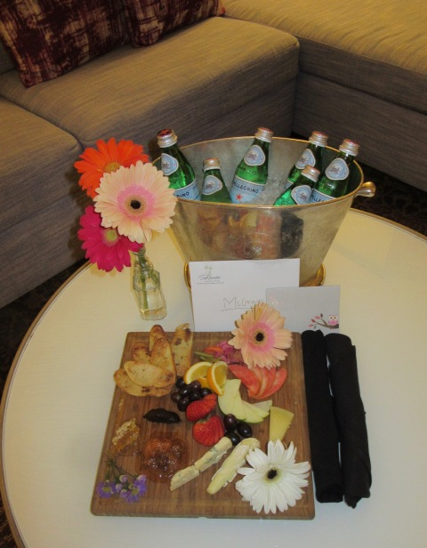 Cheese! Flowers! Sparkling water! Notes! Kimpton Karma.