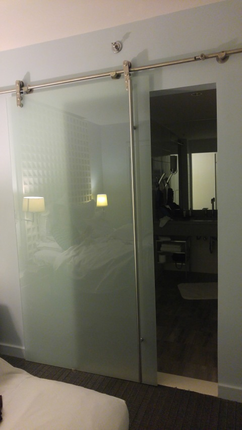 Enter the glass door for showering
