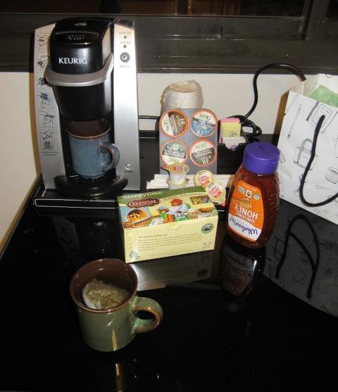 Sleepytime tea, honey, and some pottery mugs. Just like home.