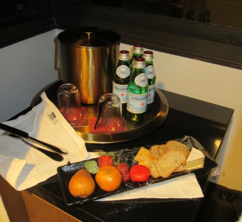 Notes, sparking water, cheese and fruit.  All good.  Plus tea!